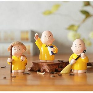 Buddhist Shaolin Monks Figurines – Creative Resin Fengshui Crafts – Set of 3